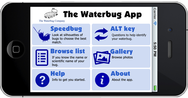 menu waterbug Appp